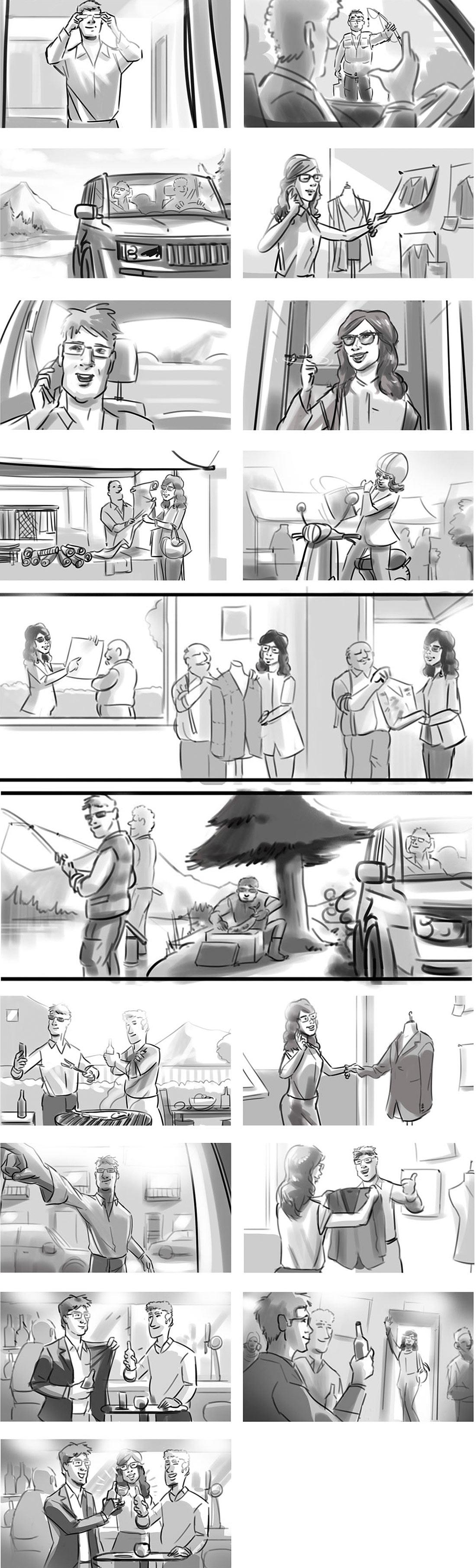 Storyboard illustration for HOYA photo-chromatic sunglasses