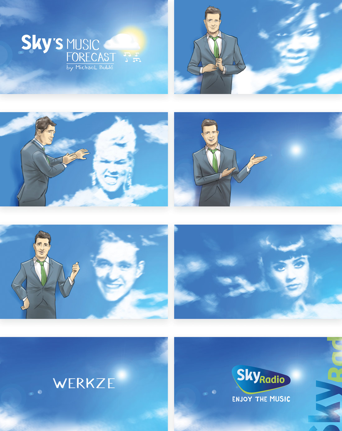 Storyboard illustration for Sky radio with Michael Buble as weatherman