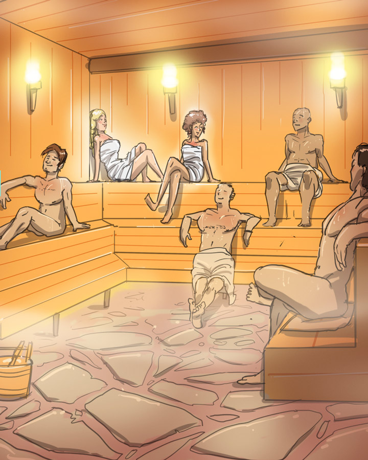 illustration of two women and four men in a sauna