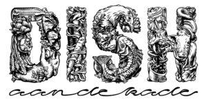 Dish black white ink art logo