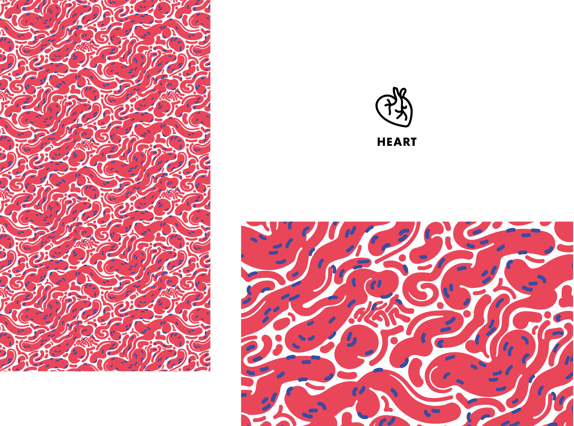 heart pattern and icon